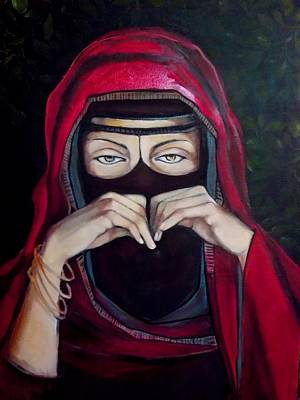 Poster featuring the painting Looking Through Niqab by Irena Mohr