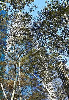 Looking Up From Bryant Park In Autumn Poster by Sarah Loft
