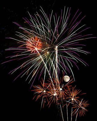 Looks Like Flowers - Fireworks And Moon Poster by Penny Lisowski