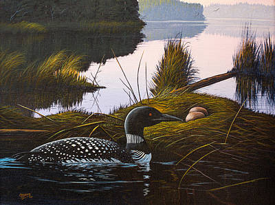 Poster featuring the painting Loon Lake by Richard Faulkner