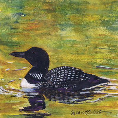Poster featuring the painting Loon On Jordon Pond Maine by Susan Herbst