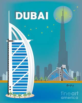 Dubai Vertical Loose Petals Illustration Poster by Karen Young