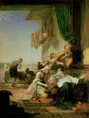 Lord Byron Reposing In The House Of A Fisherman Having Swum The Hellespont, 1831  Poster by Sir William Allan