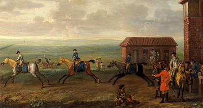 Lord Portmore Watching Racehorses At Exercise On Newmarket Poster