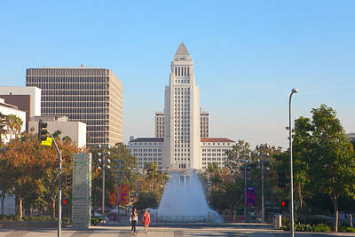 Poster featuring the photograph Los Angeles City Hall by Ram Vasudev
