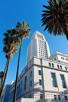 Los Angeles City Hall With Palm Trees. Poster by Jamie Pham