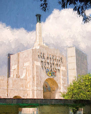 Poster featuring the painting Los Angeles Coliseum by Ike Krieger