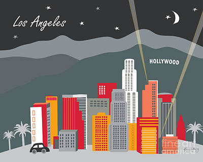 Los Angeles California Horizontal Skyline - Hollywood Hills - Night Poster