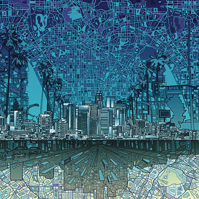 Los Angeles Skyline Abstract 5 Poster