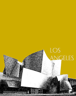 Los Angeles Skyline Disney Theater - Gold Poster by DB Artist