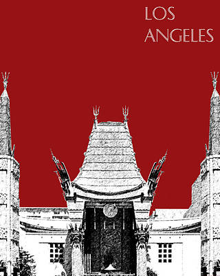 Los Angeles Skyline Graumans Chinese Theater - Dark Red Poster
