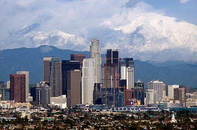Los Angeles Skyline With Snowy Mountains Poster
