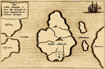 Lost Continent Of Atlantis, 1665 Poster by Science Source