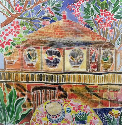 Lotus Cafe, Ubud, Bali, 2002 Coloured Ink On Silk Poster by Hilary Simon