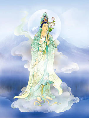 Poster featuring the photograph Lotus-holding Kuan Yin by Lanjee Chee