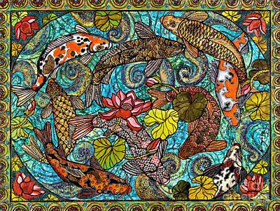Lotus Koi Pond Poster