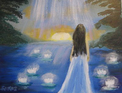 Poster featuring the painting Lotus Lake by Diana Riukas