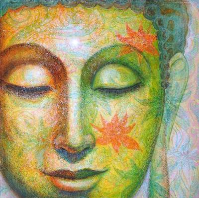 Poster featuring the painting Lotus Meditation Buddha by Sue Halstenberg