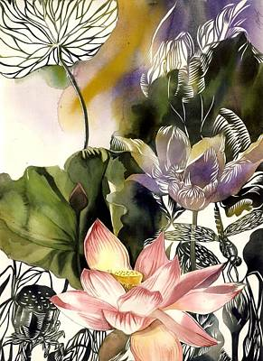 Lotus With Dragonfly Poster