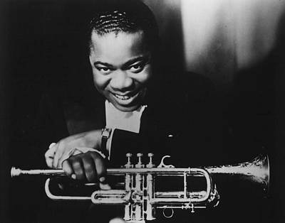 Louis Armstrong Holding Trumpet Poster