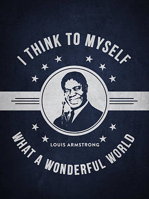 Louis Armstrong - Navy Blue Poster by Aged Pixel