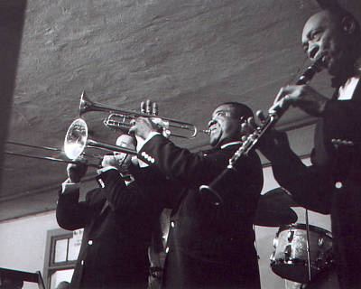 Louis Armstrong Playing The Trumpet With Band Poster
