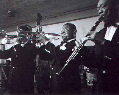 Louis Armstrong Playing With The Band Poster