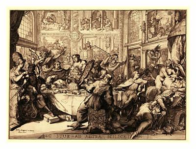 Louis Dor Au Soleil, En Sanguine Engraving 1705 Poster