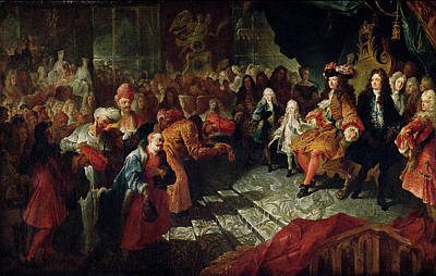 Louis Xiv 1638-1715 Receiving The Persian Ambassador Mohammed Reza Beg In The Galerie Des Glaces Poster by Antoine Coypel