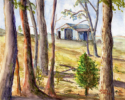 Poster featuring the painting Louisiana Barn Through The Trees by Lenora  De Lude