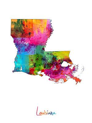 Louisiana Map Poster by Michael Tompsett