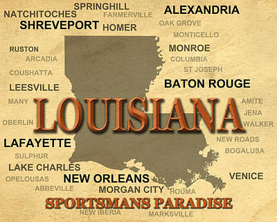 Louisiana State Pride Map Silhouette  Poster by Keith Webber Jr