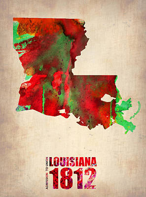 Louisiana Watercolor Map Poster by Naxart Studio