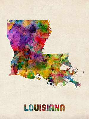 Louisiana Watercolor Map Poster by Michael Tompsett
