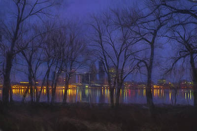 Louisville Kentucky Night Skyline Digital Paint Poster