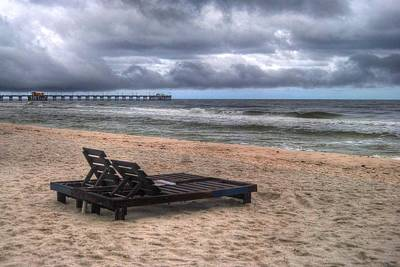 Lounge Chair On A Stormy Morning Poster