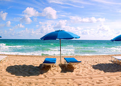 Lounge Chairs And Beach Umbrella Poster by Panoramic Images