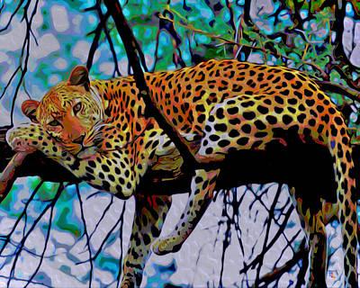 Loungin' Leopard Poster by  Fli Art