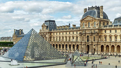 Louvre Pyramids And Buildings Poster by Babak Tafreshi