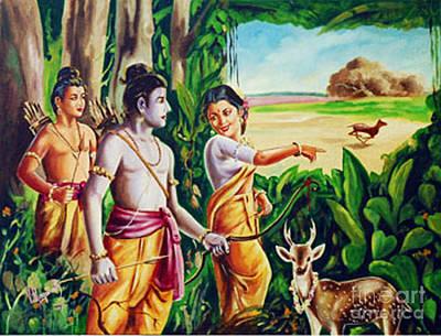 Poster featuring the painting Love And Valour- Ramayana- The Divine Saga by Ragunath Venkatraman