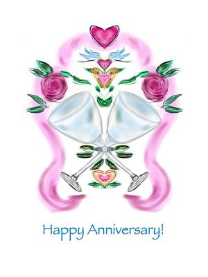 Poster featuring the digital art Love Birds Anniversary by Christine Fournier