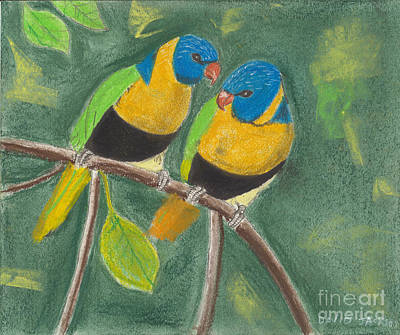 Poster featuring the pastel Love Birds by David Jackson