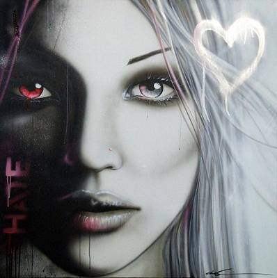 Portrait - ' Love Hate ' Poster by Christian Chapman Art