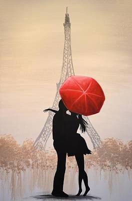 Poster featuring the painting Love In Paris by Amy Giacomelli
