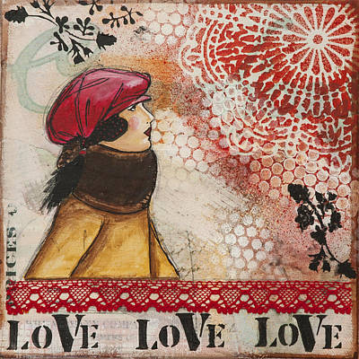 Love Inspirational Mixed Media Folk Art Poster