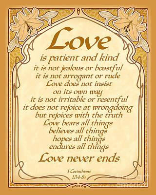 Love Is Patient - Gold Art Nouveau Style Poster