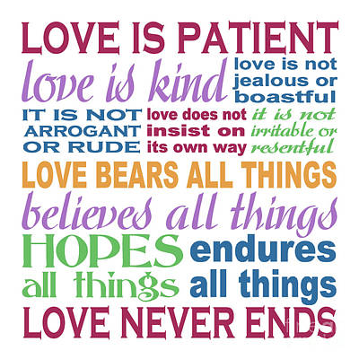 Love Is Patient - Color  Poster by Ginny Gaura