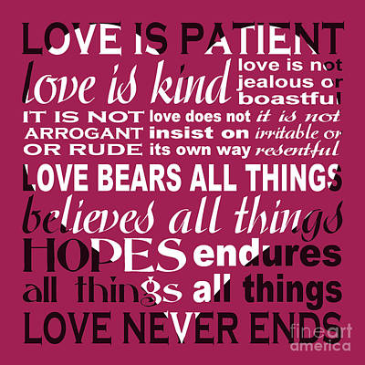 Love Is Patient - Heart Design Poster by Ginny Gaura