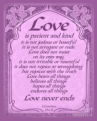 Love Is Patient - Radiant Orchid Art Nouveau Style Poster by Ginny Gaura
