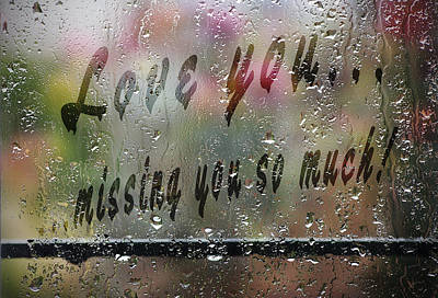 Love Message On Rainy Window Poster by Georgeta Blanaru